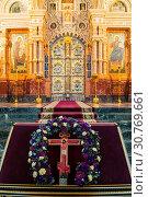 Купить «Cathedral of Our Savior on Spilled blood - interior of St Petersburg landmark. Iconostasis and altar part of cathedral», фото № 30769661, снято 5 апреля 2019 г. (c) Зезелина Марина / Фотобанк Лори