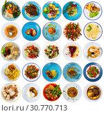 Купить «Collage of meals on round plates», фото № 30770713, снято 17 сентября 2019 г. (c) Яков Филимонов / Фотобанк Лори