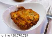 Купить «Spanish tortilla with shrimp closeup», фото № 30770729, снято 21 ноября 2019 г. (c) Яков Филимонов / Фотобанк Лори