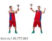 Купить «Young sportsman with cup isolated on white», фото № 30777861, снято 12 мая 2015 г. (c) Elnur / Фотобанк Лори