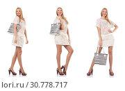 Купить «Fashionable woman isolated on white», фото № 30778717, снято 18 июня 2019 г. (c) Elnur / Фотобанк Лори