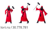 Купить «Executioner in red costume with axe on white», фото № 30778781, снято 23 января 2013 г. (c) Elnur / Фотобанк Лори