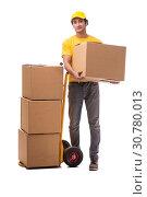 Купить «Young male courier with box», фото № 30780013, снято 9 ноября 2018 г. (c) Elnur / Фотобанк Лори