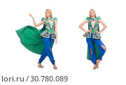 Купить «Woman in oriental green clothing isolated on white», фото № 30780089, снято 24 апреля 2015 г. (c) Elnur / Фотобанк Лори