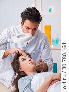 Купить «Young woman visiting male doctor cosmetologist», фото № 30780161, снято 16 ноября 2017 г. (c) Elnur / Фотобанк Лори