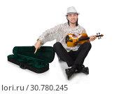 Купить «Man with violin isolated on white», фото № 30780245, снято 2 января 2014 г. (c) Elnur / Фотобанк Лори