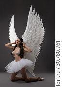 Купить «Ballet dancer topless with gorgeous wings view», фото № 30780761, снято 29 апреля 2019 г. (c) Гурьянов Андрей / Фотобанк Лори