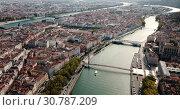Купить «Aerial view of Lyon and rivers Rhone and Saone, France», видеоролик № 30787209, снято 12 октября 2018 г. (c) Яков Филимонов / Фотобанк Лори