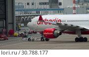 Купить «Airplane Airbus A330 towing», видеоролик № 30788177, снято 22 июля 2017 г. (c) Игорь Жоров / Фотобанк Лори