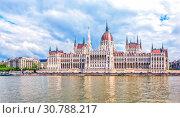 Купить «Вид на Парламент с Дуная. Будапешт. Венгрия», фото № 30788217, снято 30 апреля 2019 г. (c) Сергей Афанасьев / Фотобанк Лори
