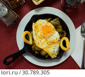 Купить «Nutritious snack in frying pan», фото № 30789305, снято 24 октября 2019 г. (c) Яков Филимонов / Фотобанк Лори