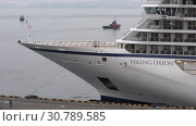 Купить «Passenger Expedition Cruise Liner Viking Orion anchored at pier in Sea Port», видеоролик № 30789585, снято 19 мая 2019 г. (c) А. А. Пирагис / Фотобанк Лори