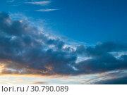 Купить «Sunset sky background - picturesque evening sky with dramatic colorful clouds», фото № 30790089, снято 21 ноября 2018 г. (c) Зезелина Марина / Фотобанк Лори