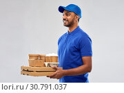 Купить «happy indian delivery man with food and drinks», фото № 30791037, снято 12 января 2019 г. (c) Syda Productions / Фотобанк Лори