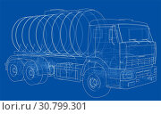 Купить «Truck with tank concept. 3d illustration. Wire-frame style», фото № 30799301, снято 22 мая 2018 г. (c) easy Fotostock / Фотобанк Лори