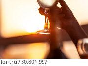 Купить «Wineglass in female hand against the sunset», фото № 30801997, снято 20 августа 2015 г. (c) Данил Руденко / Фотобанк Лори