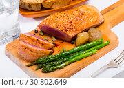 Купить «Poultry dish – fried duck breast», фото № 30802649, снято 21 июля 2019 г. (c) Яков Филимонов / Фотобанк Лори