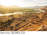 Купить «Caucasian landscape in backlit, Mtkvari river in Georgia», фото № 30803121, снято 30 сентября 2018 г. (c) Юлия Бабкина / Фотобанк Лори