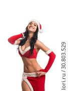 Купить «Pretty girl in sexy New Year costume shot», фото № 30803529, снято 17 мая 2019 г. (c) Гурьянов Андрей / Фотобанк Лори