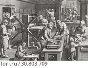 Купить «A Florentine printing house in the 16th century. After a 16th century engraving.», фото № 30803709, снято 1 января 2019 г. (c) age Fotostock / Фотобанк Лори