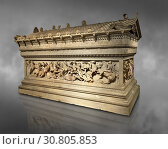Купить «Alexander The Great ( Alexander III of Macedon) 4th Cent BC. Sarcophagus calved from Pentelic Marble from the Royal Necropolis of Sidon, Chamber no. III...», фото № 30805853, снято 11 января 2019 г. (c) age Fotostock / Фотобанк Лори