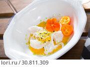 Купить «Sea food – cod ceviche with avocado sauce», фото № 30811309, снято 16 июля 2019 г. (c) Яков Филимонов / Фотобанк Лори