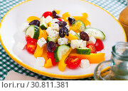 Greek vegetable salad with cheese and olive oil. Стоковое фото, фотограф Яков Филимонов / Фотобанк Лори
