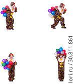 Купить «Funny male clown isolated on white», фото № 30811861, снято 22 июля 2019 г. (c) Elnur / Фотобанк Лори