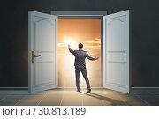 Купить «Businessman entering big large door», фото № 30813189, снято 4 апреля 2020 г. (c) Elnur / Фотобанк Лори