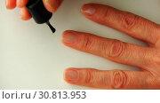 Купить «Processing of transparent nail varnish color glitter», видеоролик № 30813953, снято 3 ноября 2017 г. (c) Aleksandr Sulimov / Фотобанк Лори