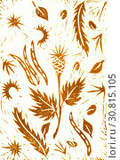 Hand drawing linocut. Ocher. Autumn plants. Стоковая иллюстрация, иллюстратор Юлия Фаранчук / Фотобанк Лори