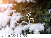 Купить «Golden toy deer stands on a snowy branch of evergreen pine as a symbol of the New Year holiday», фото № 30815753, снято 16 января 2019 г. (c) Олег Белов / Фотобанк Лори