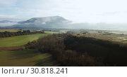 Aerial landscape of Navarre valleys and hills, North Spain (2018 год). Стоковое видео, видеограф Яков Филимонов / Фотобанк Лори