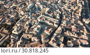 Купить «Aerial view of the french city of Carpentras. Provence, France», видеоролик № 30818245, снято 6 января 2019 г. (c) Яков Филимонов / Фотобанк Лори