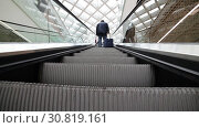 Купить «A moving escalator inside an airport. A person standing with a luggage», видеоролик № 30819161, снято 10 декабря 2019 г. (c) Константин Шишкин / Фотобанк Лори