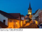 Купить «Image of streets of Sibiu with view of Cathedral», фото № 30819653, снято 16 сентября 2017 г. (c) Яков Филимонов / Фотобанк Лори