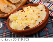 Купить «Tasty baked with bechamel sauce cauliflower at clay pot», фото № 30819705, снято 16 июня 2019 г. (c) Яков Филимонов / Фотобанк Лори
