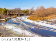 Spring landscape. Movement of floes on the river. Стоковое фото, фотограф Акиньшин Владимир / Фотобанк Лори