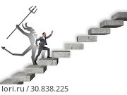 Купить «Businessman with alter ego climbing career ladder», фото № 30838225, снято 16 октября 2019 г. (c) Elnur / Фотобанк Лори