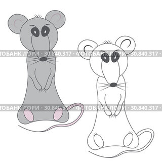 Coloring gray gloomy displeased rat and unpainted outline silhouette in cartoon style on a white background
