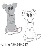 Coloring gray gloomy displeased rat and unpainted outline silhouette in cartoon style on a white background. Стоковая иллюстрация, иллюстратор Светлана Евграфова / Фотобанк Лори