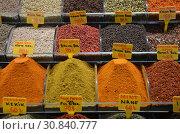 Купить «Продажа специй на Гранд Базаре. Стамбул, Турция», фото № 30840777, снято 11 мая 2018 г. (c) Светлана Колобова / Фотобанк Лори