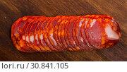 Купить «Chorizo sausage slices», фото № 30841105, снято 23 июля 2019 г. (c) Яков Филимонов / Фотобанк Лори