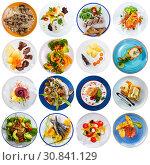 Купить «Collage of meals on round plates», фото № 30841129, снято 17 сентября 2019 г. (c) Яков Филимонов / Фотобанк Лори