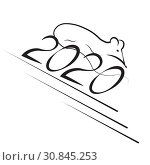 Купить «New Year of the Rat on the Eastern Astrological Calendar and the numbers 2020. Drawing the symbol of the zodiac rat racing sketch black and white», иллюстрация № 30845253 (c) Светлана Евграфова / Фотобанк Лори