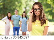 Купить «young woman or teenage girl in glasses», фото № 30845397, снято 29 января 2019 г. (c) Syda Productions / Фотобанк Лори