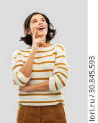Купить «happy woman in striped pullover looking up», фото № 30845593, снято 6 марта 2019 г. (c) Syda Productions / Фотобанк Лори