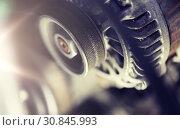 Купить «close up of machine mechanism», фото № 30845993, снято 1 июля 2016 г. (c) Syda Productions / Фотобанк Лори