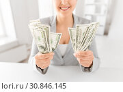 Купить «close up of woman hands holding us dollar money», фото № 30846145, снято 2 июля 2015 г. (c) Syda Productions / Фотобанк Лори
