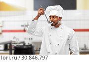 Купить «happy indian chef tasting food by ladle at kitchen», фото № 30846797, снято 12 января 2019 г. (c) Syda Productions / Фотобанк Лори